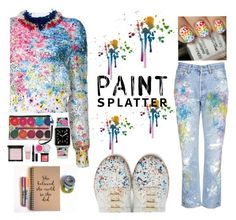 """""""An Artist at Work"""" by rainbow1027 ❤ liked on Polyvore featuring Monique Lhuillier, Givenchy, Rialto Jean Project, Maison Margiela, Casetify and paintsplatter"""