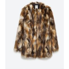 Zara Faux Fur Jacket ($149) ❤ liked on Polyvore featuring outerwear, jackets, brown, brown jacket, fake fur jacket, zara jacket, lined jacket and faux fur lined jacket