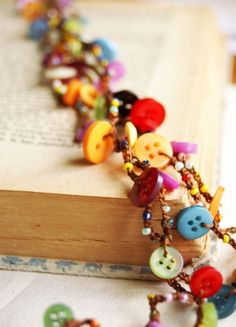 Happy Tiny Buttons - versatile crocheted necklace / bracelet - glass seed beads and upcycled colorful buttons - $32.50 etsy