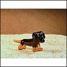 Cute Glass Super Mini Fugirune  Dachshund Dark by GeoSpyorg
