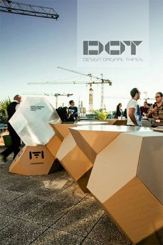 DOT BETA I EXPLORERS FESTIVAL // Corrugated cardboard geometic modules, with singular polycarbonate geometric modules www.dot-things.com
