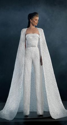 Naja Saade Couture 2019 Wedding Dresses - Starlight 2019 Bridal Collection - Jumpsuit wedding dress with loyal train fashion dresses High fashion wedding dress inspiration Wedding Robe, Wedding Pantsuit, Western Wedding Dresses, Black Wedding Dresses, Wedding Dress Styles, Bridal Dresses, Wedding Dress Cape, Couture Dresses Gowns, Vogue Wedding