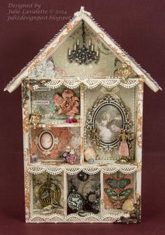 Paper birdhouse shadow box Juliz Design Post : Little House of Curiosities Shadow Box Kunst, Shadow Box Art, Diy Vintage, Vintage Crafts, Altered Boxes, Altered Art, Assemblage Kunst, Shadow Box Memory, Christmas Shadow Boxes