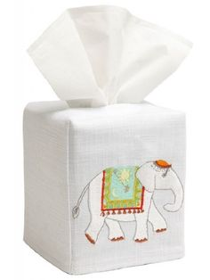 Gorgeous tissue box cover with the Charming Elephant embroidery