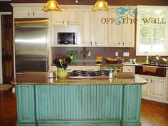 turquoise kitchen island - my favorite color!