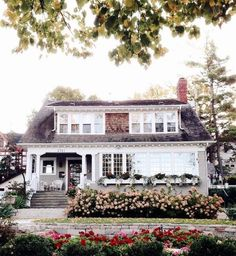 Love the white framed house with all the windows and window boxes. Precious As A Peony!