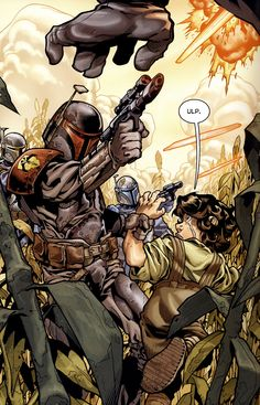 Jaster Mereel saving a young Jango Fett from Death Watch