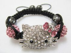 Hello Kitty Bracelet Children Bracelet pink by OhSoGirlyHeadbands Black Kids, Reborn Babies, Baby Headbands, Round Beads, Crystal Beads, Valentine Gifts, Baby Shower Gifts, Hello Kitty, Beaded Bracelets