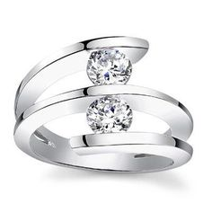 2 stone diamond ring designs | 60 ct Two Round Cut Diamonds Anniversary Ring in Platinum Madina ...