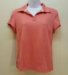 Athleta MEDIUM Pink Polo Shirt Knit Top Blouse Athletic Golf Tennis Hiking #Athleta #Polo