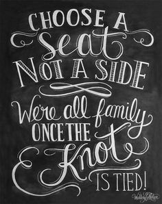 Choose A Seat Not A Side Print Wedding Ceremony by LilyandVal