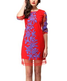 Crimson Sheer Floral Shift Dress - Almatrichi