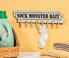 "Missing Sock Hanger Cute Humorous Laundry Room ""Sock Monster Bait"" Sign New 