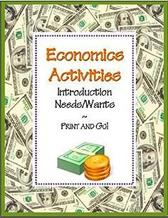 NEEDS and WANTS ACTIVITY PACKET~ Four (4) ready-to-use worksheets with teaching suggestions and full-sized answer keys -AND- a reading selection and word search that introduces basic economics concepts. Just print and go!  Companion products and bundled packet also available.  #economic #lesson  $