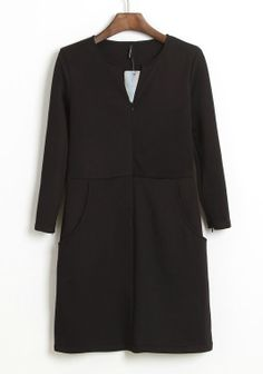 Black V Neck Long Sleeve Split Bodycon Dress - Sheinside.com