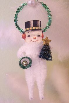 Snowman Vintage Style Chenille Feather Tree Ornament by TreePets Vintage Christmas Ornaments, Retro Christmas, Christmas Snowman, Christmas Decorations, Christmas Mantles, Xmas, Victorian Christmas, White Christmas, Christmas Trees