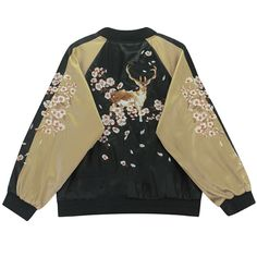 "Deer Embroidery Bomber Jacket (M-L)   Coupon code""cutekawaii"" for 10% off"