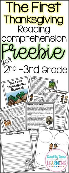 Free First Thanksgiving Reading comprehension workbook, writing page, graphic organizers, get the gist and more! For second grade and third grade!