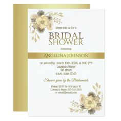 Bridal Shower Floral Golden Glam Boho Pure White Card - floral style flower flowers stylish diy personalize