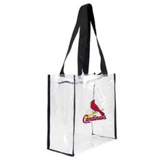 Little Earth Productions 601311-Stlo St. Louis Cardinals Clear Square Stadium Tote, Women's, As Shown