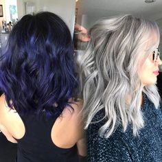 This photo was taken a year apart. ⏳The client had some deep blue 👨🏽🎤mixed in with her natural level 2 base. Since then, @hairbyac_alcorn has slowly been taking her to blonde, using Olaplex every step of the way to insure the integrity of her hair. 💪🏾💪🏼Now her hair is this stunning silver platinum and healthier than ever. 🌪Whether the transformation happens in a day, or gingerly over a year, the results never cease to amaze us! Great work, Ana!🏆💛 #olaplex #platinum #silverhair