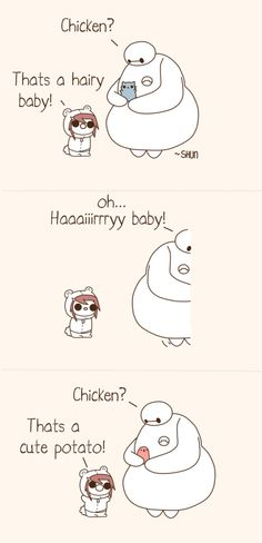 That's a cute potato! I want chicken ;-;