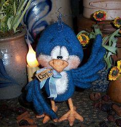 """Primitive Fuzzy Bluebird Baby Bird Bear Style 6"""" Doll ★ Patti's Ratties Ornie  (:"""