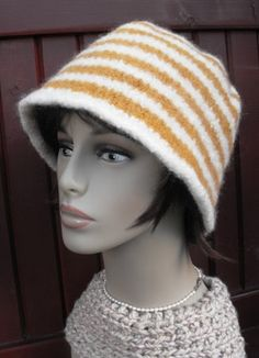 Wool Felted Hand Knitted Striped Cloche Hat for by MaggiesInn