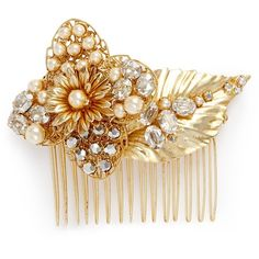 Miriam Haskell Swarovski crystal glass pearl floral leaf hair comb ($385) ❤ liked on Polyvore featuring accessories, hair accessories, hair, white, hair combs, miriam haskell, leaf hair accessories, hair combs accessories and 1920s hair accessories