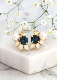 Buy Now Navy Blue Earrings Bridal Blue Navy Stud Earrings Dark. Pearl Stud Earrings, Pearl Studs, Blue Earrings, Crystal Earrings, Bridesmaid Earrings, Bridal Earrings, Bridesmaids, Swarovski Ring, Blue Crystals