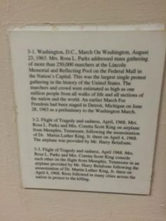 This image features a caption of photos in the Rosa Parks room located at the Martin Luther King, Jr. National Historic Site. The caption discusses Parks' role during the March on Washington. The caption shows  the friendship between Parks and King, as well as the trust he had in her, especially as a woman, to represent the Civil Rights Movement. Black women were a double target, as the subordinate race and gender. King demonstrates solidarity for black women in his relationship with Rosa…