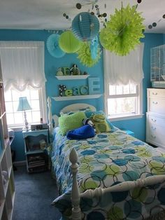 Blue and Yellow-Green color themed bedroom for teens. It's really awesome and cool! Please like and follow for more ideas!