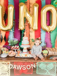 Fiesta First Birthday Party - Cinco De Mayo - Paper Picado Banner - UNO balloons - cactus