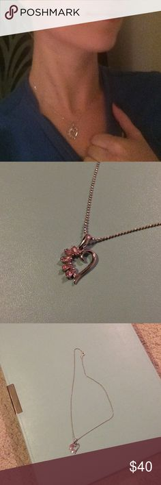 Rose quartz heart necklace in .925 silver 925 silver, don't know what the gems are but they are excellent quality. This would be a beautiful accessory for Valentines Day! Jewelry Necklaces
