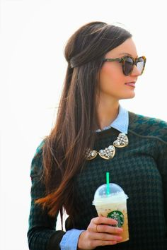 Blue oxford + check sweater + sparkly necklace. For All Things Lovely.