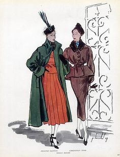 Jeanne Lanvin & Christian Dior 1947 Fashion Illustration Pierre Louchel by Pierre Louchel   Hprints.com