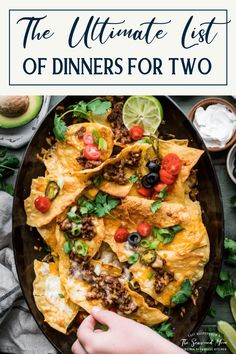 Check out the ultimate list of easy dinner recipes for two! From chicken to beef, pasta to seafood, there's something here for everyone -- including easy date night recipes for two! Date Night Recipes, Delicious Dinner Recipes, Weeknight Meals, Quick Meals, Food Dishes, Main Dishes, Easy Recipe To Make At Home, Real Food Recipes, Healthy Recipes