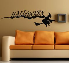Happy Halloween Wall Decals Woman Witch on Broom Vinyl Decal Sticker Interior Design Living Room Home Mural Art Kid Nursery Room Decor by WallDecalswithLove on Etsy Decorating Your Home, Interior Decorating, Room Stickers, Art For Sale Online, Nursery Room Decor, Wall Decor, Halloween Stickers, Mural Art, Wall Art