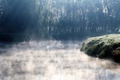 OutdoorMonkey posted a photo:  Last of the early morning mist burning off the River Parrett on Aller Moor in Somerset.