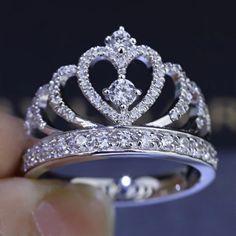 Invincible Glittering Tiara Silver Fake Diamond Crown Engagement Ring for Women [100594] - $80.99 : jewelsin.com