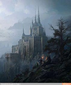 Anime landscape Fantasieschloss Fantasielandschaft Anime landschaft