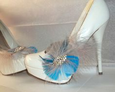 Wedding Shoe Clips   Feather Shoe Clips by ShoeClipsOnly on Etsy