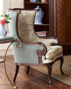 Bring nature into your home with the Massoud Wingback chair upholstered in a fabric with a lovely tree design. This beautiful chair is handsomely crafted with a carved beech frame. Chair Redo, Chair Makeover, Furniture Makeover, Home Furniture, Chair Upholstery, Chair Fabric, Upholstered Furniture, Wingback Chairs, Traditional Chairs