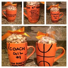 Make a soccer ball and write bible verse on it. Basketball coach gift: mug filled with pistachios. I made mug using marker that writes on ceramic. Just bake at 375 for 40 minutes! Fill with popcorn or any of your coaches favorite treats. Softball Gifts, Cheerleading Gifts, Cheer Gifts, Basketball Gifts, Team Gifts, Sports Gifts, Basketball Party, Football Cheerleading, Basketball Birthday