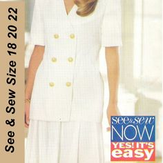 Butterick 3528 See & Sew Pattern Misses Top and Skirt Uncut Size 18 20 22