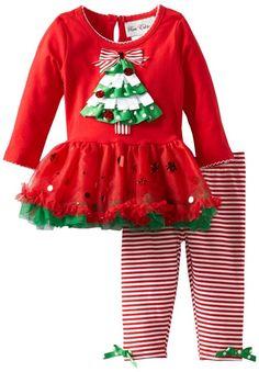 Rare Editions Baby Baby-girls Newborn Christmas Tree Tutu Legging Set, Red, 3 Months