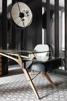 Cavour deskn designed by Carlo Mollino :: 1949 (Zanotta) and Fortuny Lamp by Mariano Fortuny :: 1907
