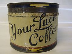 "Vintage "" Your Luck "" Coffee Tin By Special Sales Agents Piggly Wiggly Stores Coffee Stands, Coffee Tin, Coffee Cafe, Vintage Tins, Vintage Coffee, Piggly Wiggly, Tea Tins, Tin Cans, Old Bottles"