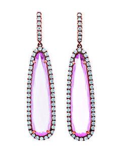 18k rose gold drop earrings with 19.69 cts. t.w. rose quartz and 1.81 cts. t.w. diamonds; $7,530; Pink Diamond Corp., Los Angeles; 800-526-8121; pinkdiamondusa.com