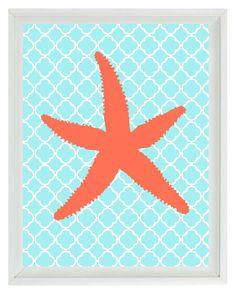 Starfish Beach Nautical Sea Creature Art Print  - Nursery Children Room Aqua Orange Coral - Wall Art Home Decor  8x10. $15.00, via Etsy.